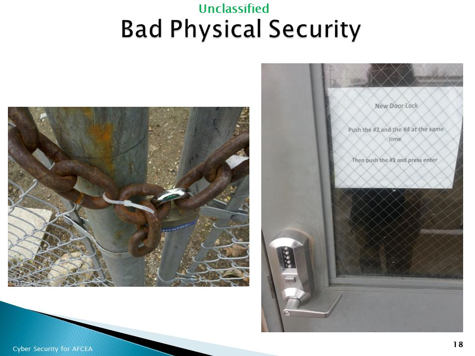 Bad Physical Security Compliance: Is there a lock installed Yes