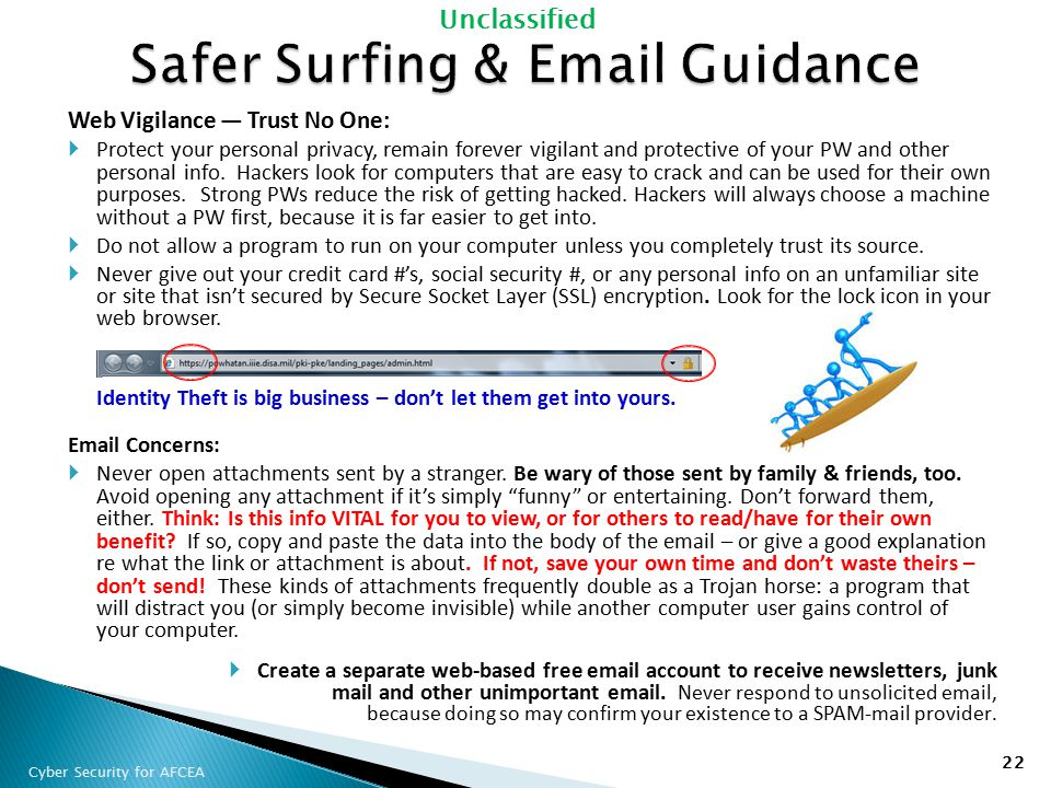 Safer Surfing & Email Guidance