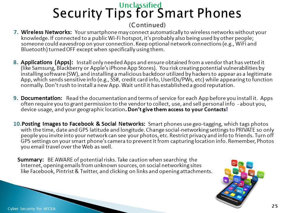 Security Tips for Smart Phones (Continued)