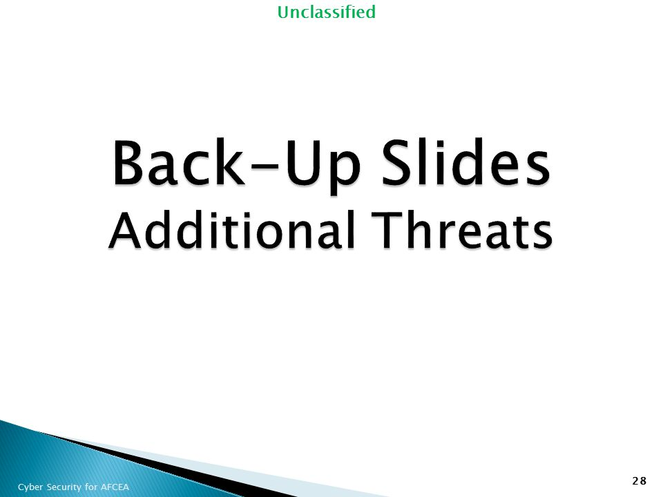 Back-Up Slides Additional Threats
