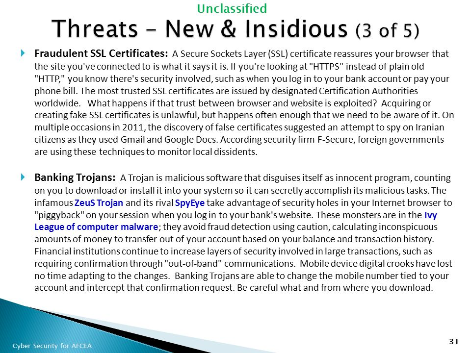 Threats – New & Insidious (3 of 5)