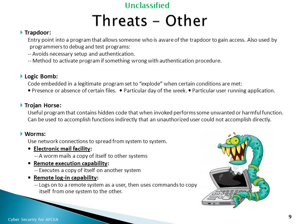Threats - Other Trapdoor: Logic Bomb: Trojan Horse: Worms: