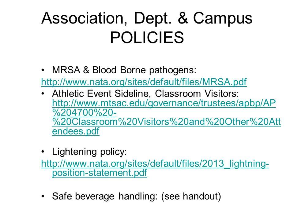 Association, Dept. & Campus POLICIES