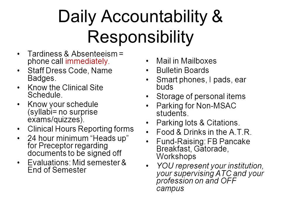 Daily Accountability & Responsibility