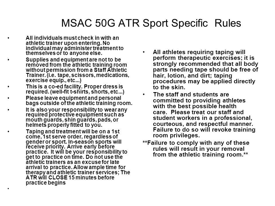 MSAC 50G ATR Sport Specific Rules