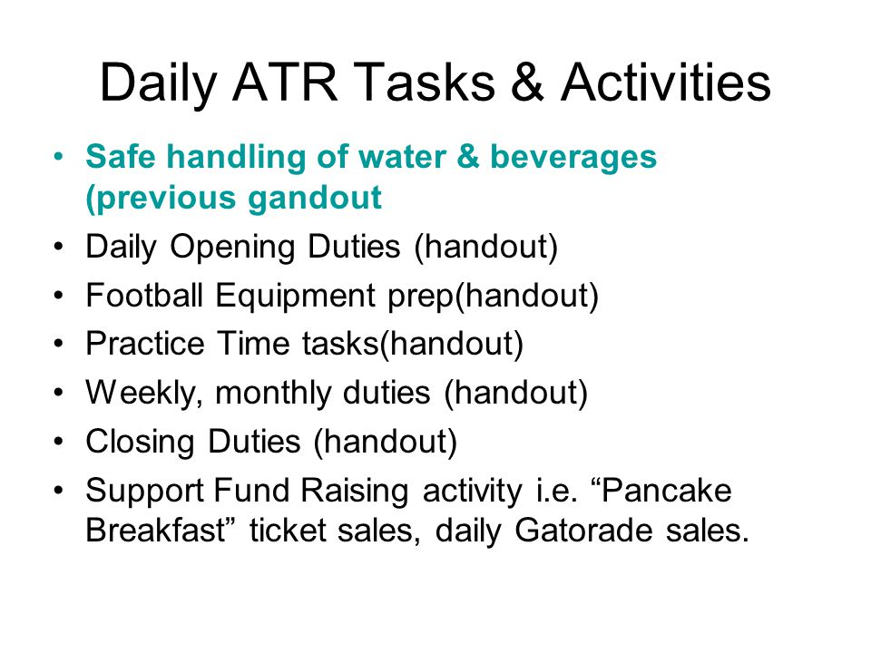 Daily ATR Tasks & Activities