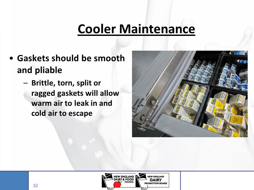 Cooler Maintenance Gaskets should be smooth and pliable