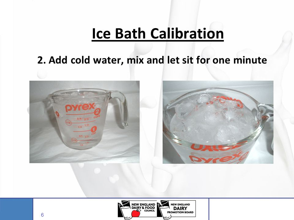 Ice Bath Calibration 2. Add cold water, mix and let sit for one minute