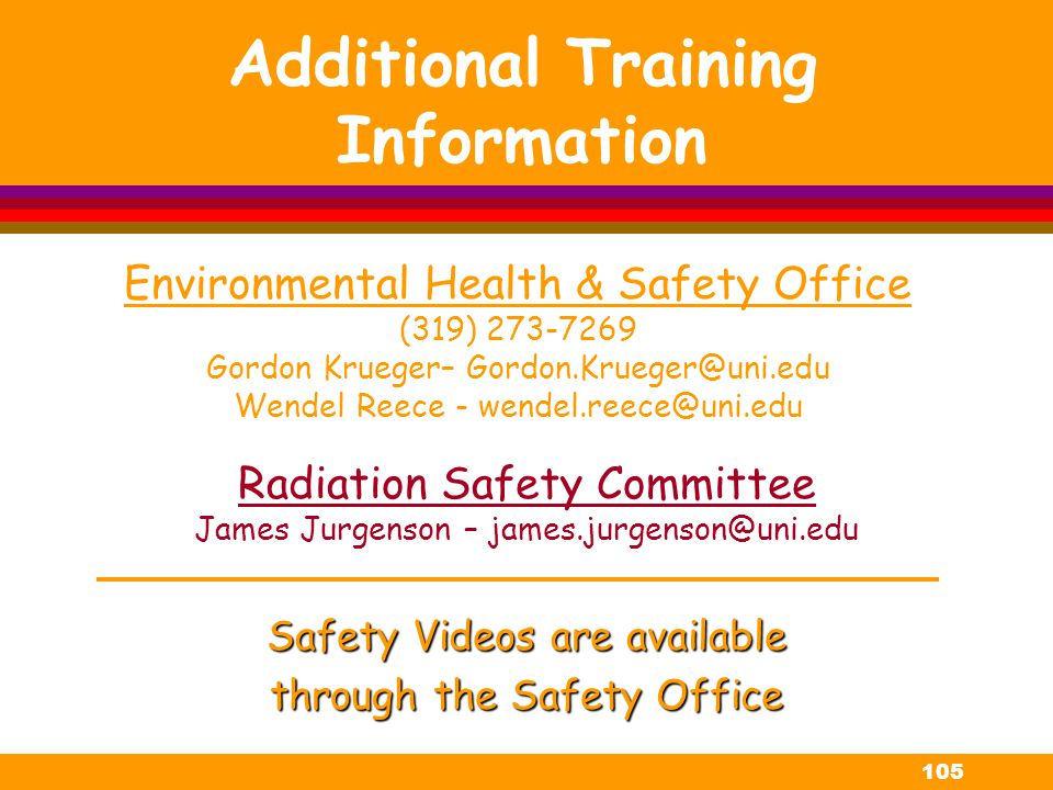 Additional Training Information