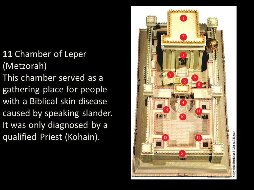 11 Chamber of Leper (Metzorah) This chamber served as a gathering place for people with a Biblical skin disease caused by speaking slander.