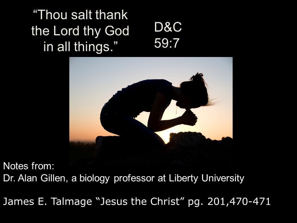 Thou salt thank the Lord thy God in all things.