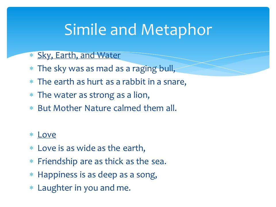 Simile and Metaphor Sky, Earth, and Water