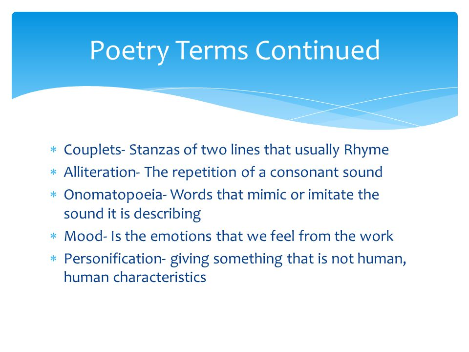 Poetry Terms Continued