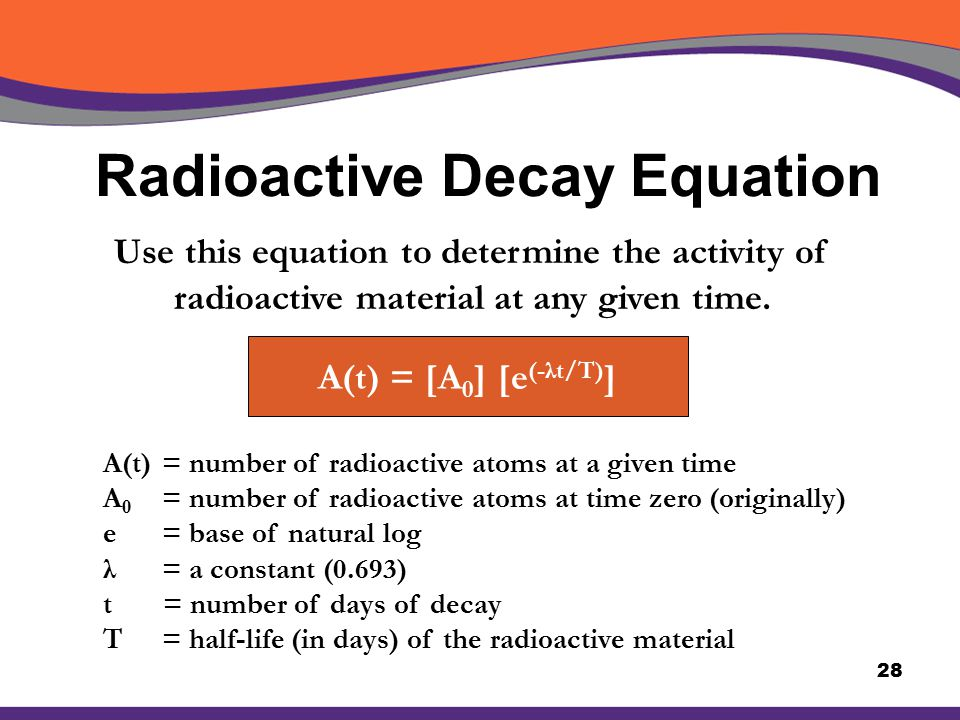Radioactive carbon dating formula