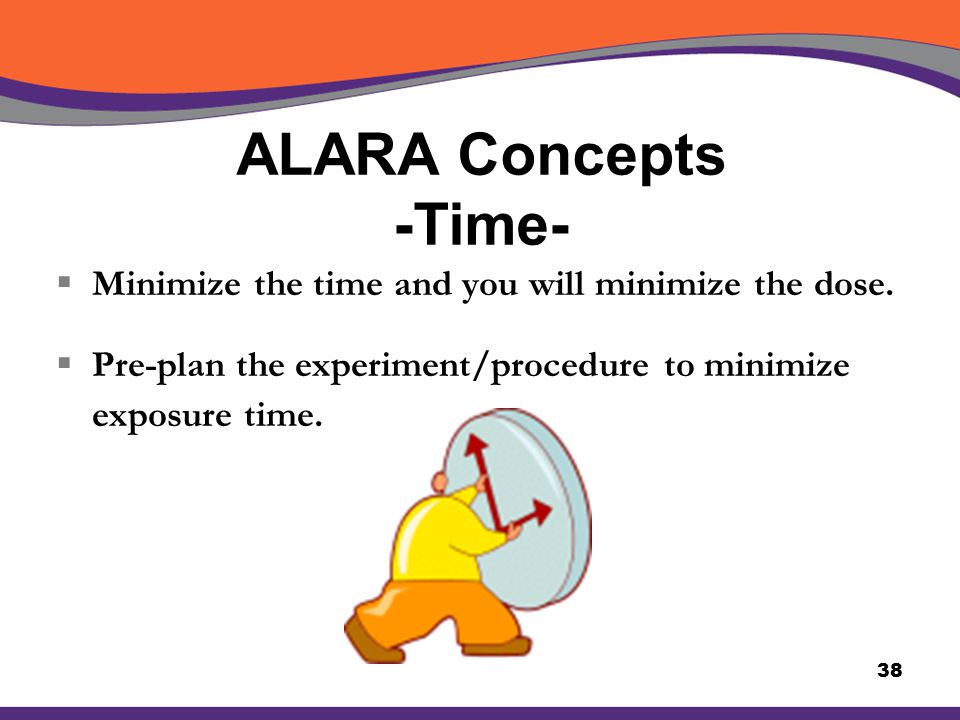 ALARA Concepts -Time- Minimize the time and you will minimize the dose.