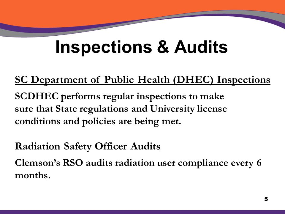 Inspections & Audits SC Department of Public Health (DHEC) Inspections