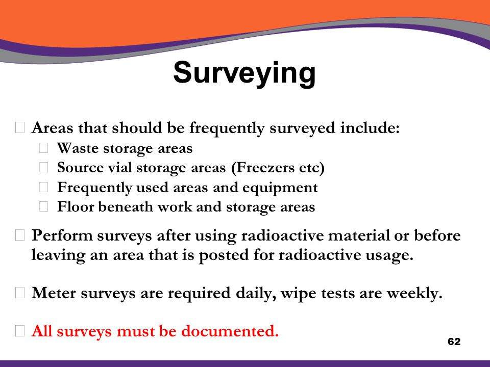 Surveying Areas that should be frequently surveyed include: