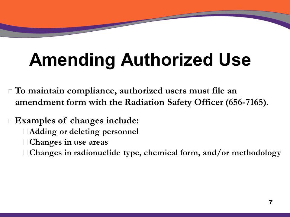Amending Authorized Use