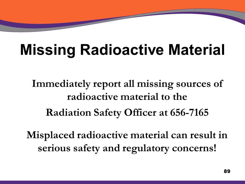 Missing Radioactive Material