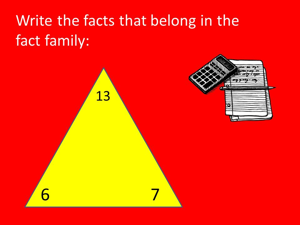 Write the facts that belong in the fact family: