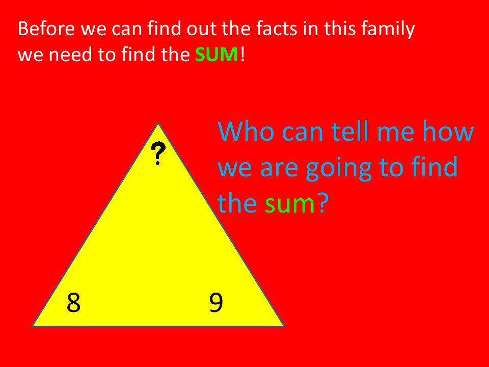 Who can tell me how we are going to find the sum