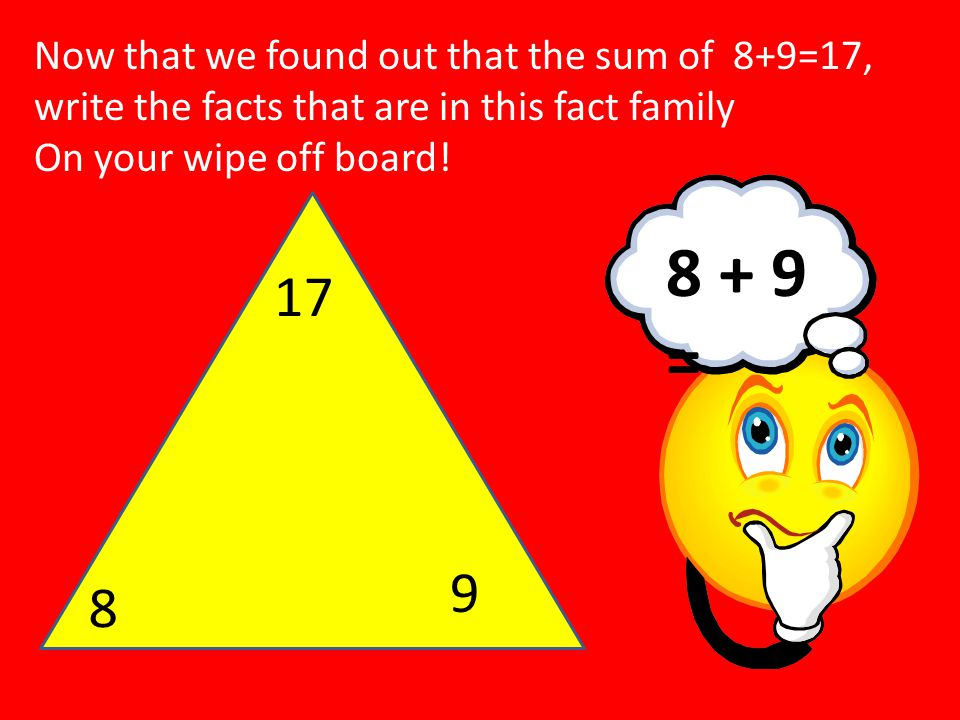 Now that we found out that the sum of 8+9=17, write the facts that are in this fact family