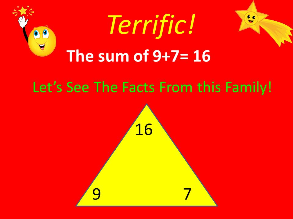 Terrific! The sum of 9+7= 16 Let's See The Facts From this Family! 16 9 7