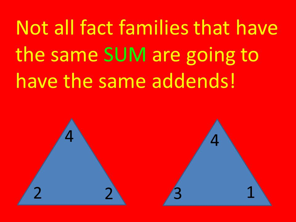 Not all fact families that have the same SUM are going to have the same addends!