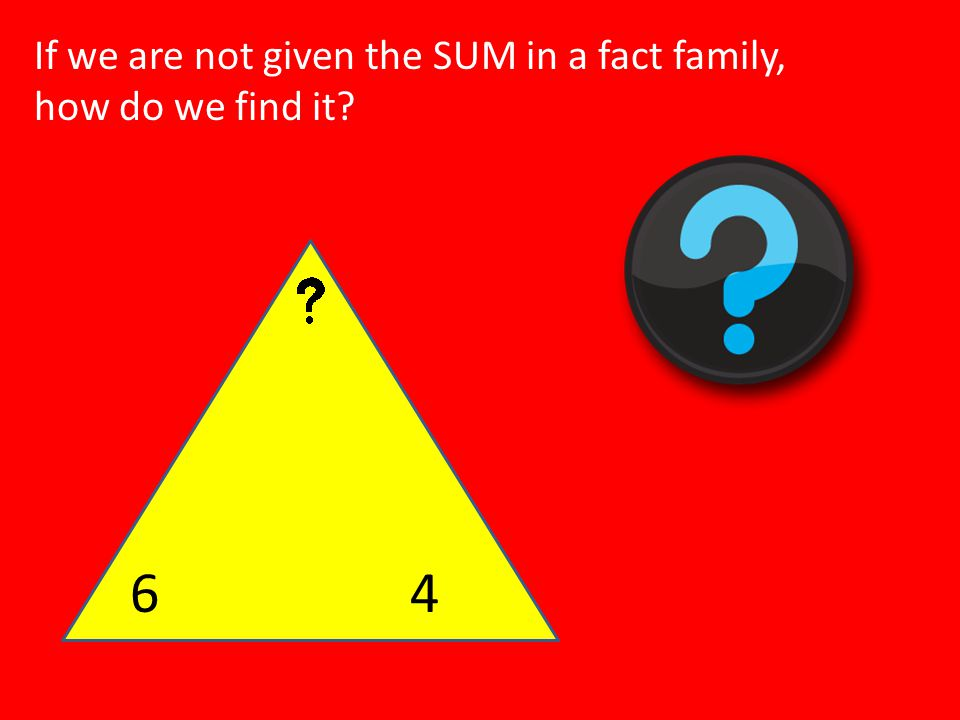 If we are not given the SUM in a fact family, how do we find it