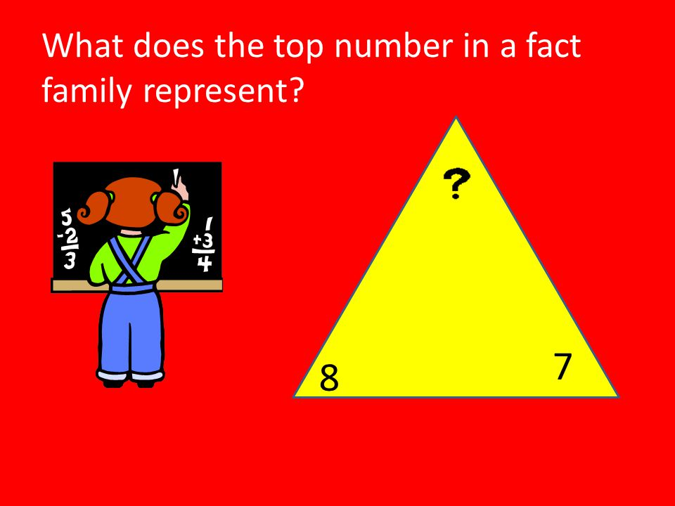 What does the top number in a fact family represent