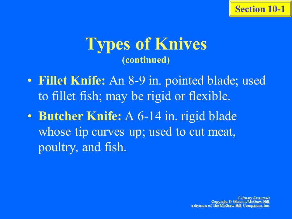 Types of Knives (continued)
