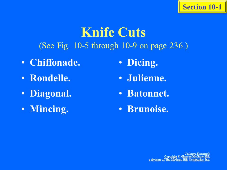 Knife Cuts (See Fig. 10-5 through 10-9 on page 236.)
