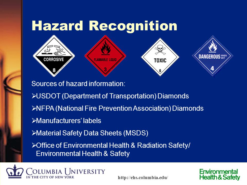 Hazard Recognition Sources of hazard information: