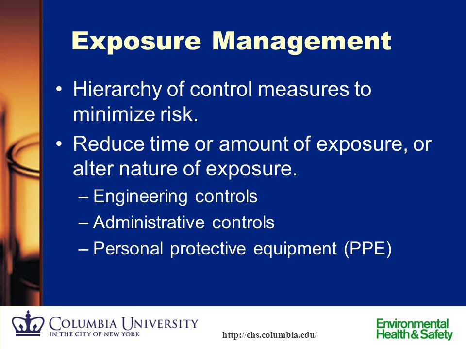 Exposure Management Hierarchy of control measures to minimize risk.