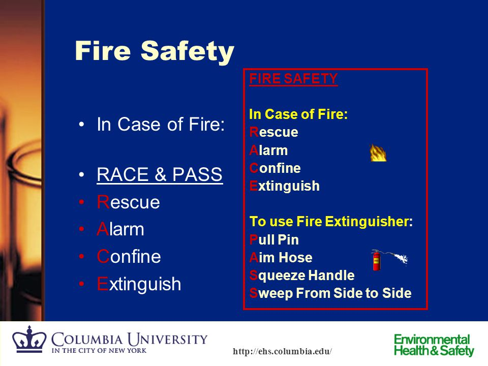 Fire Safety In Case of Fire: RACE & PASS Rescue Alarm Confine
