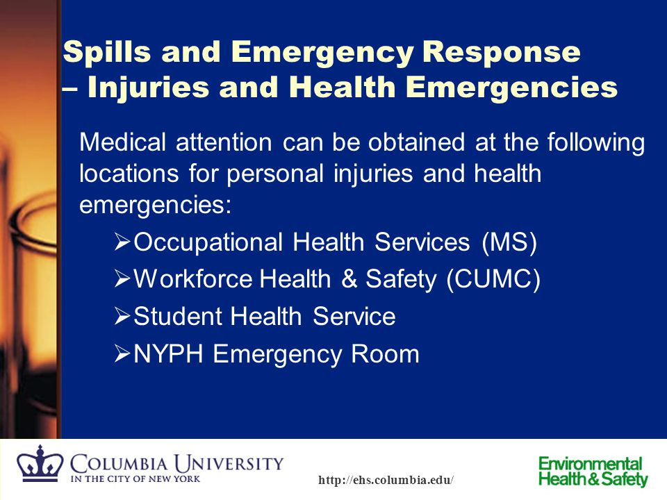 Spills and Emergency Response – Injuries and Health Emergencies