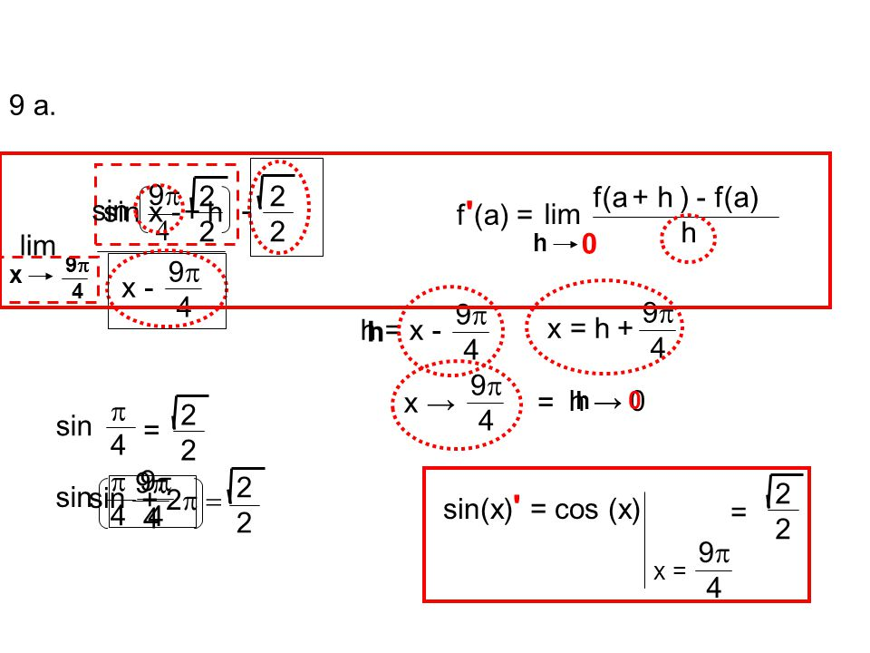9 a. lim sin x - 2 x - 9p 4 + h sin - 2 lim f(a + h ) - f(a) h f (a) =