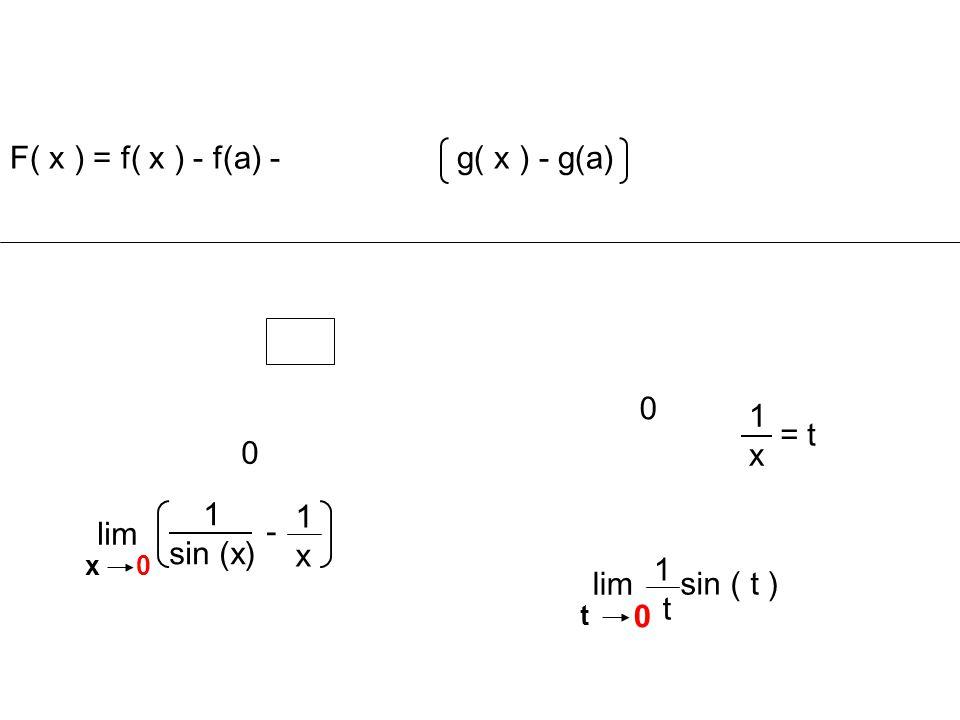 F( x ) = f( x ) - f(a) - g( x ) - g(a)