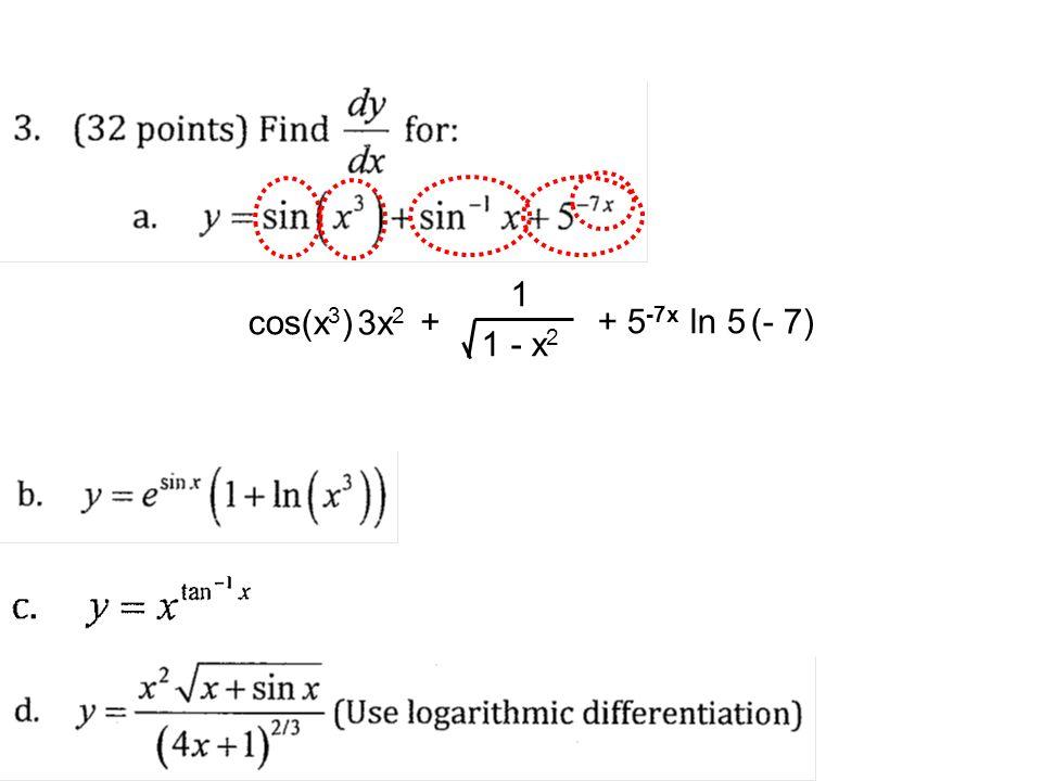 1 - x2 1 + cos(x3) 3x2 + 5-7x ln 5 (- 7)