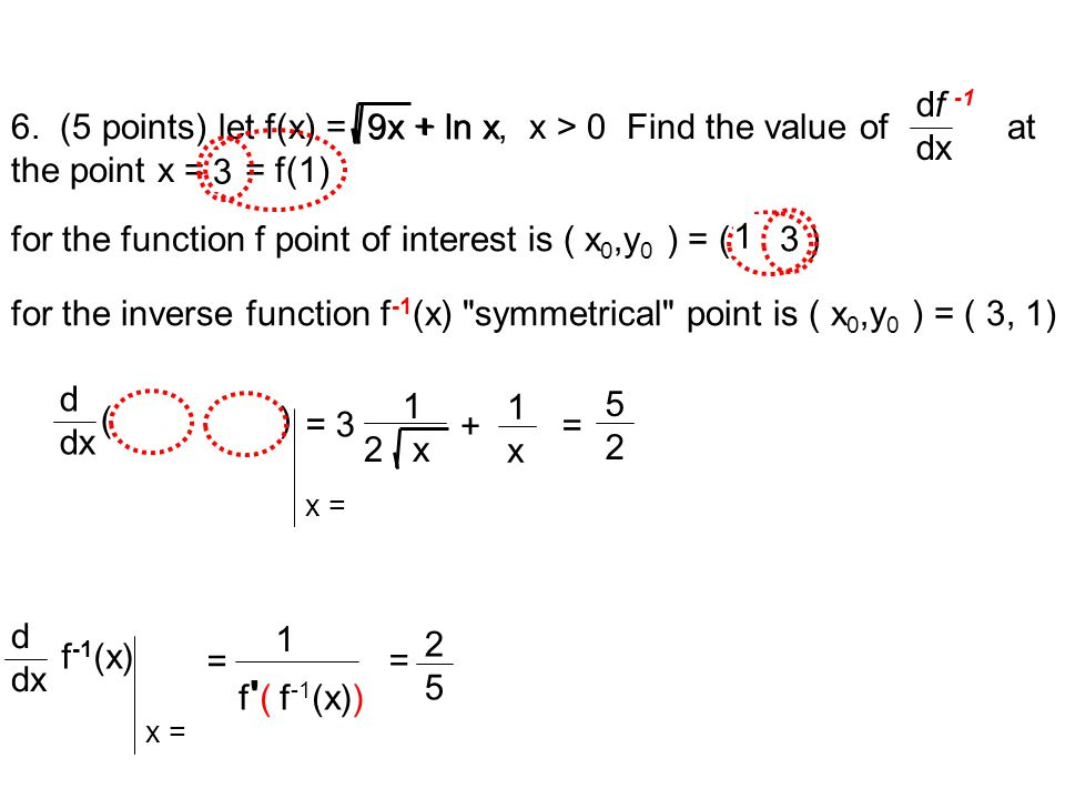 6. (5 points) let f(x) = 9x + ln x, x > 0 Find the value of at