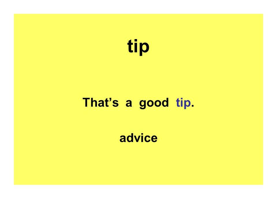 tip That's a good tip. advice