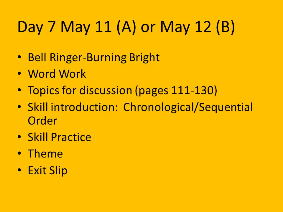 Day 7 May 11 (A) or May 12 (B) Bell Ringer-Burning Bright Word Work