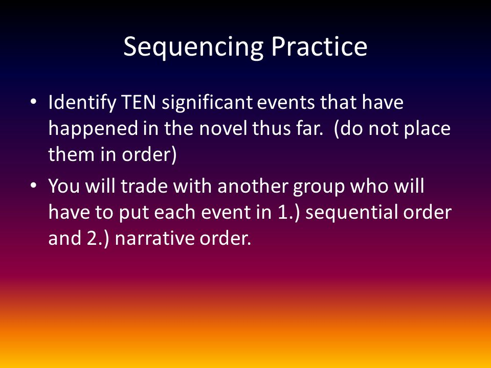 Sequencing Practice Identify TEN significant events that have happened in the novel thus far. (do not place them in order)