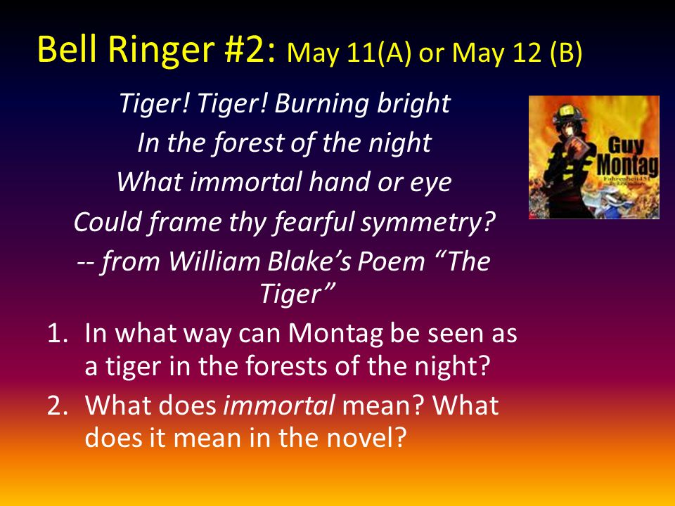 Bell Ringer #2: May 11(A) or May 12 (B)