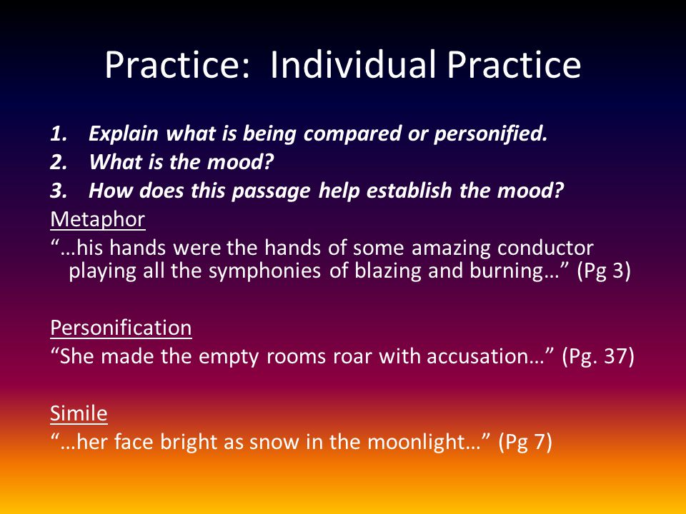 Practice: Individual Practice