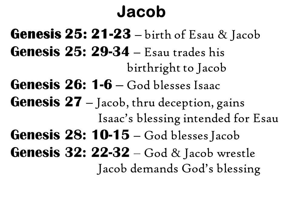 Jacob Genesis 25: 21-23 – birth of Esau & Jacob