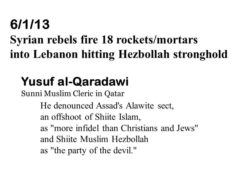 6/1/13 Syrian rebels fire 18 rockets/mortars