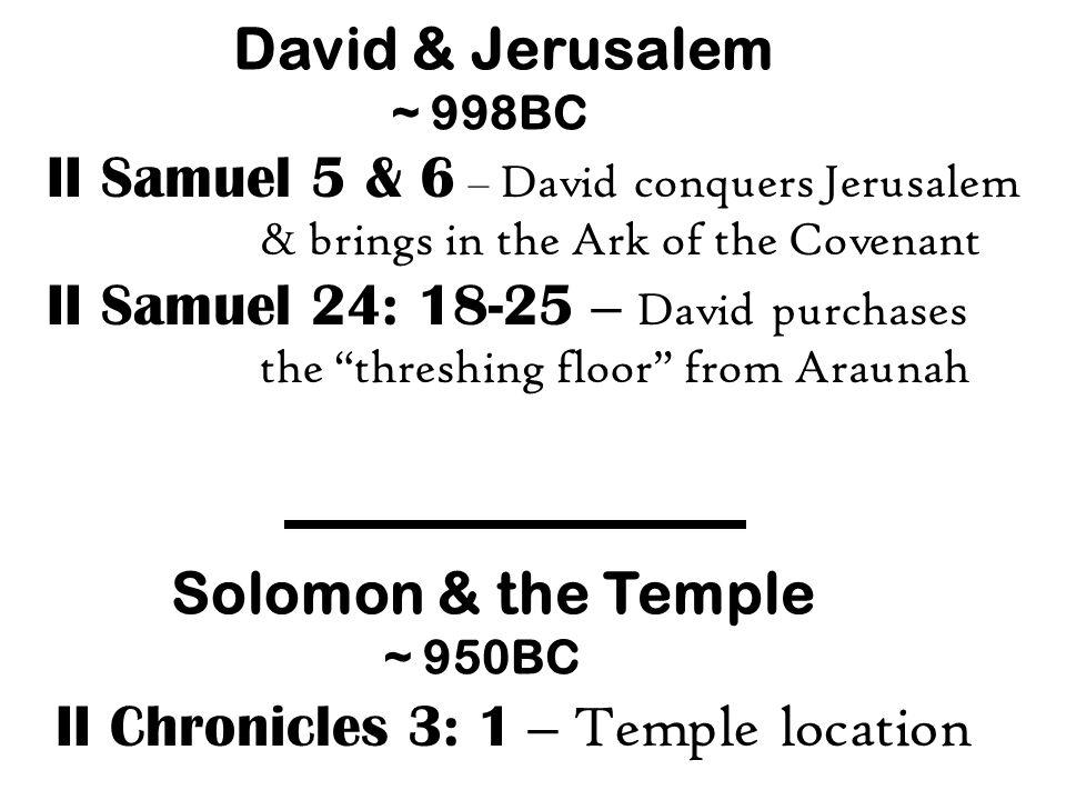 II Samuel 24: 18-25 – David purchases