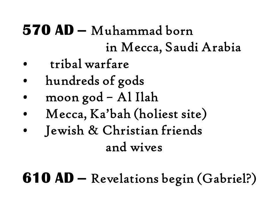 610 AD – Revelations begin (Gabriel )