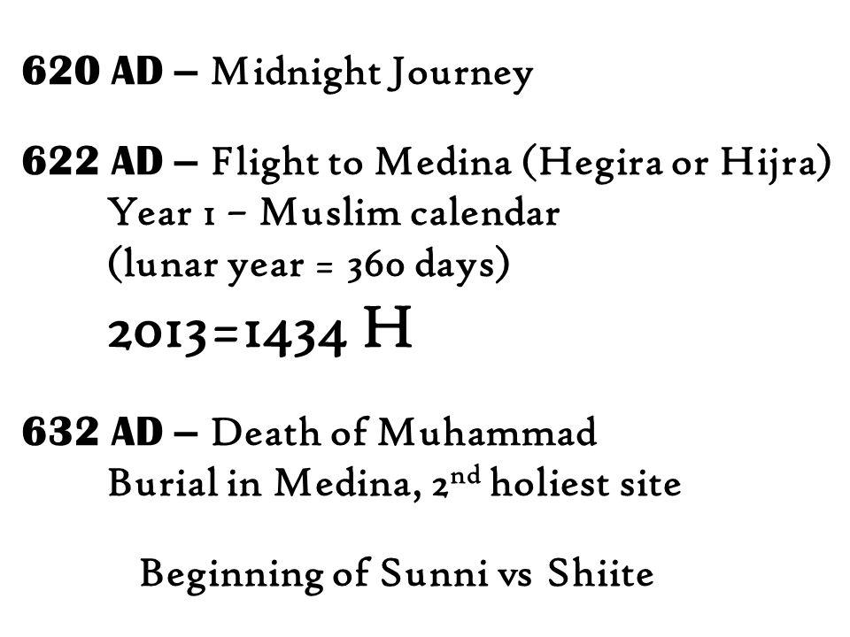 620 AD – Midnight Journey 622 AD – Flight to Medina (Hegira or Hijra) Year 1 – Muslim calendar. (lunar year = 360 days)